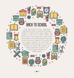 Back to school concept in circle vector