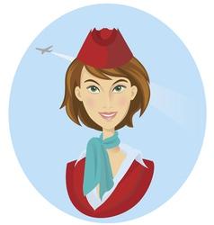 beauty cheerful stewardess women vector image vector image