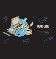 blogging artistic cartoon hand drawn sketchy line vector image vector image