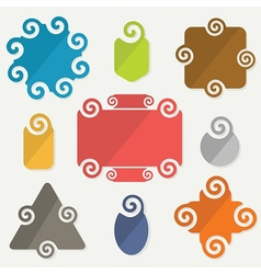 colorful retro spiral icons design elements set vector image vector image