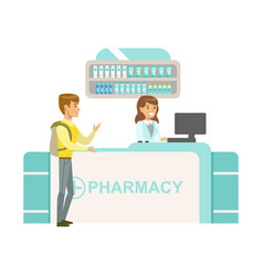 guy with backpack in pharmacy choosing and buying vector image vector image