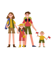 happy parents with kids on summer vacations vector image vector image