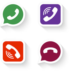 Phone icons set in speech bubble and button vector image