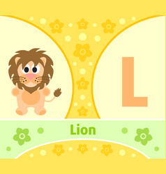 the english alphabet with lion vector image