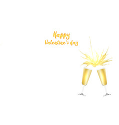 valentine s day card with champagne vector image