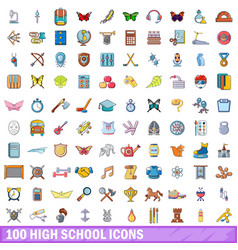 100 high school icons set cartoon style vector