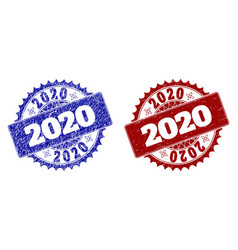 2020 blue and red round stamp seals with unclean vector