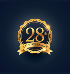 28th anniversary celebration badge label in vector image