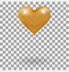 3d realistic helium heart gold balloon holiday vector