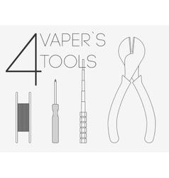 4 thin lines vaper tools set vector image