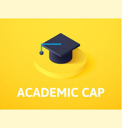 academic cap isometric icon isolated on color vector image
