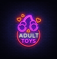 Adult toys logo in neon style design template vector