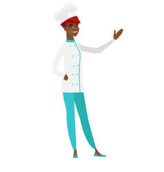 African-american chef cook showing a direction vector