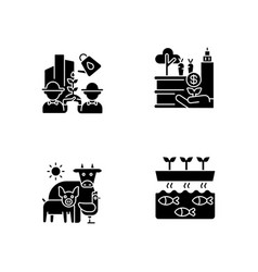 Agribusiness flat design long shadow glyph icons vector