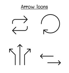 Arrow icon set in thin line style vector