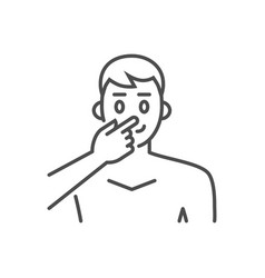 avoid face touch related thin line icon vector image