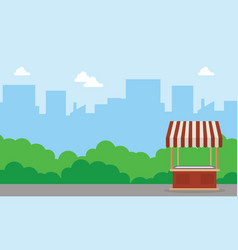 background landscape of street stall vector image