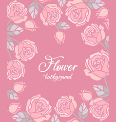 background with pink roses vector image