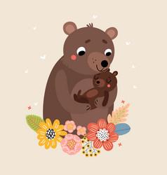 Bear mom and baby vector