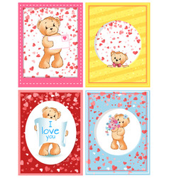 bear plush toy with love letter valentines holiday vector image