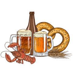 beer glasses bottle and crayfish vector image