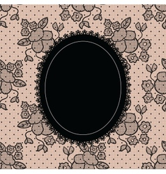 Black elegant doily on lace background vector