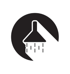 black icon with shower and stylized shadow vector image