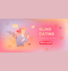 Blind dating web banner vector
