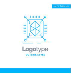 Blue logo design for object prototyping rapid vector