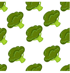 broccoli organic vegetable seamless pattern vector image