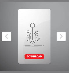 Bug insect spider virus web line icon in carousal vector