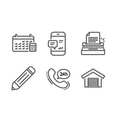 Calendar typewriter and pencil icons set vector