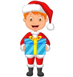 Cartoon a boy in red clothes holding gift vector