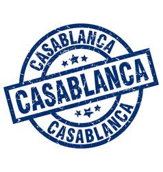 Casablanca blue round grunge stamp vector