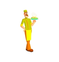 Chef Holding Pasta Dish vector image