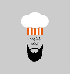 chefs hat with beard master chef logo vector image