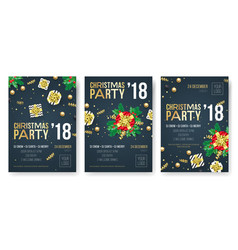 christmas party invitation poster design template vector image