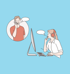 customer care clients assistance hotline vector image