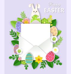 cute bunny easter eggs flowers and envelope vector image