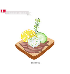 Danish cuisine of smorrebrod or traditional vector