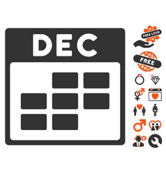 December calendar grid icon with lovely bonus vector
