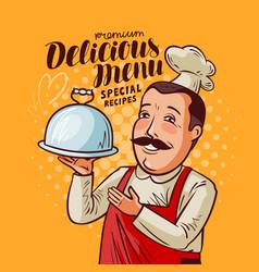 Delicious menu happy chef with tray in hand vector