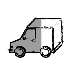 Delivery van vehicle isolated icon vector