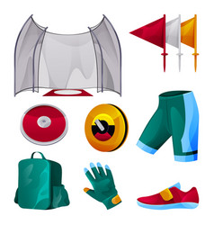 discus throwing game equipment sport tools set vector image
