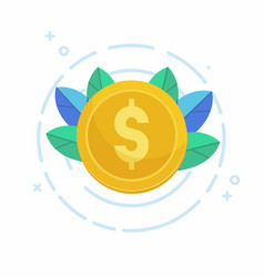 dollar gold coin icon vector image