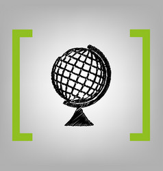 earth globe sign black scribble icon in vector image