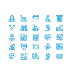 Elderly care flat line icons nursing home vector