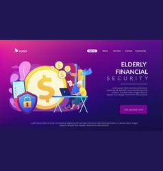 Elderly financial security concept landing page vector