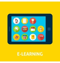 Electronic Learning Tablet Concept vector