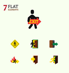 Flat icon exit set of entry direction pointer vector